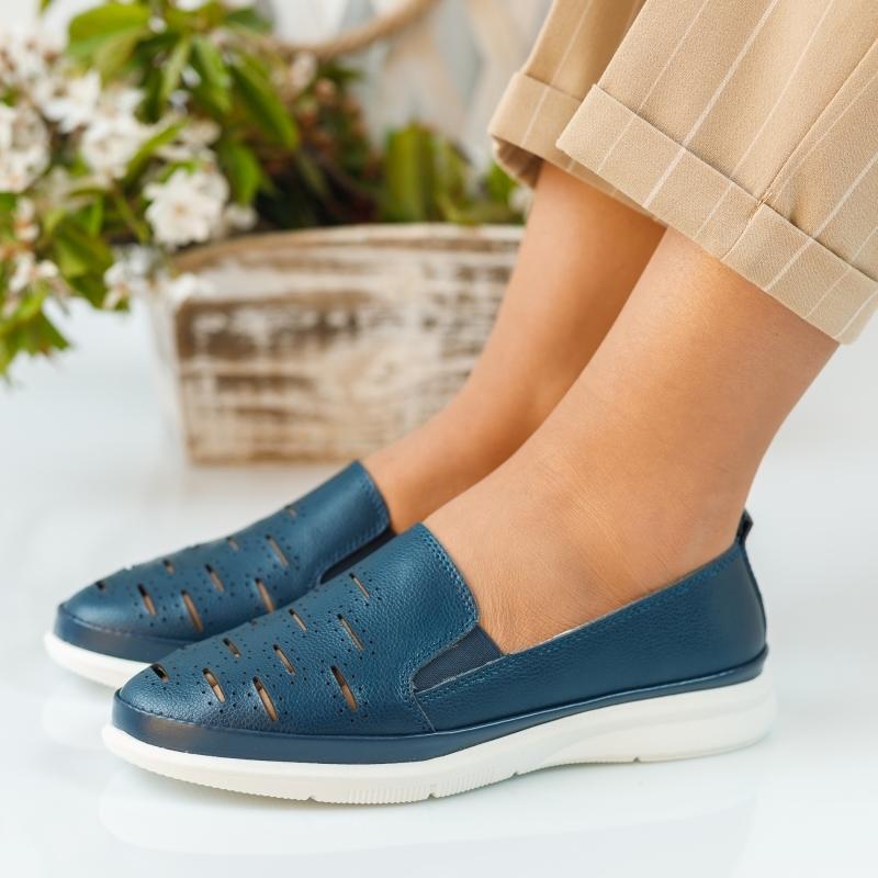 Pantofi Dama Piele Naturala Padova Bleumarin #893PN