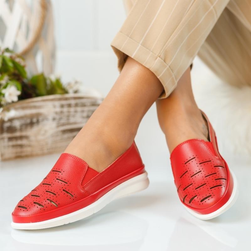 Pantofi Dama Piele Naturala Padova Rosii #892PN