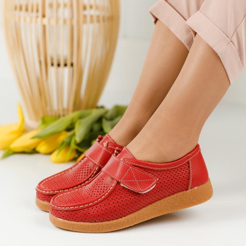 Pantofi Piele Naturala Angelina Rosii #1275M