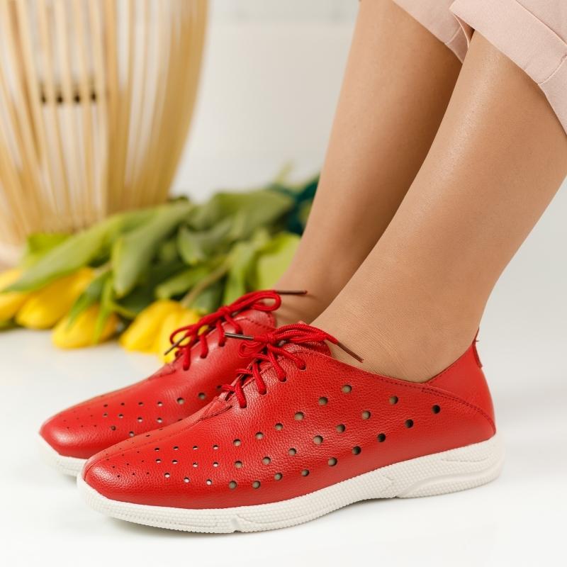 Pantofi Piele Naturala Anda Rosii #1241M imagine