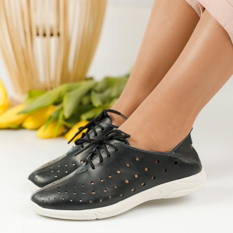 Pantofi Piele Naturala Anda Negri #1244M