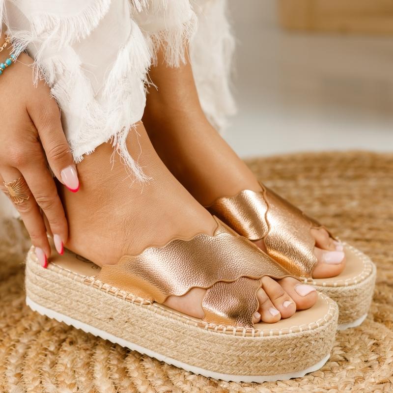Papuci Dama cu Platforma Casiana Rose Gold #1309M imagine