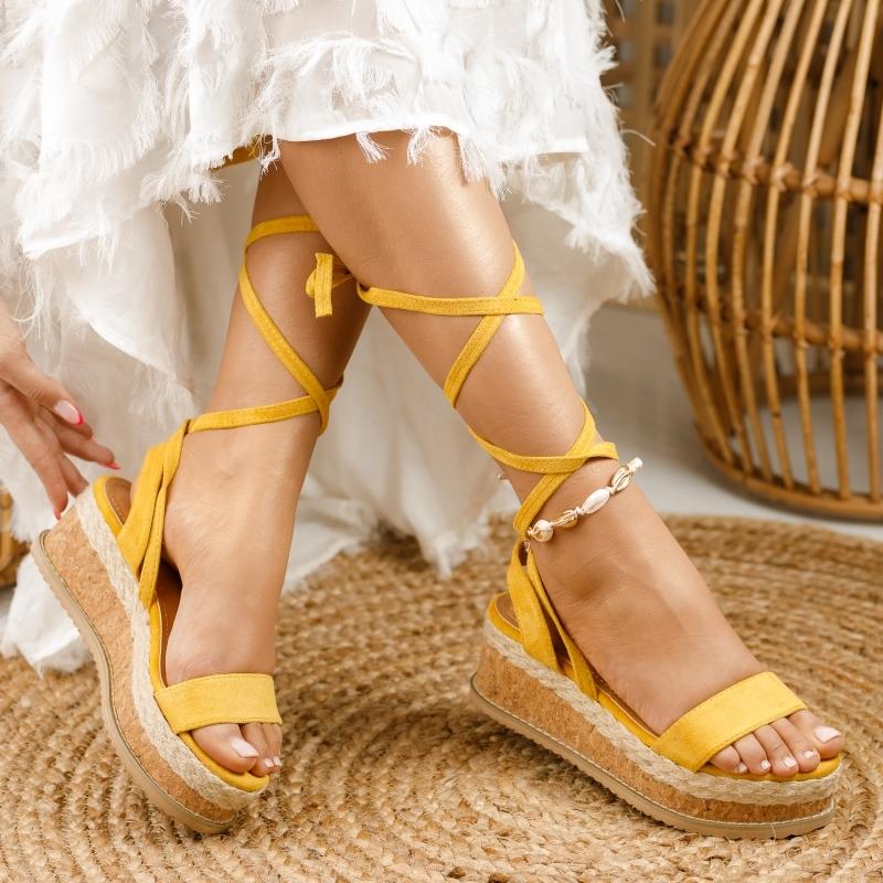 Sandale cu Platforma Diablo Galbene #1300M imagine