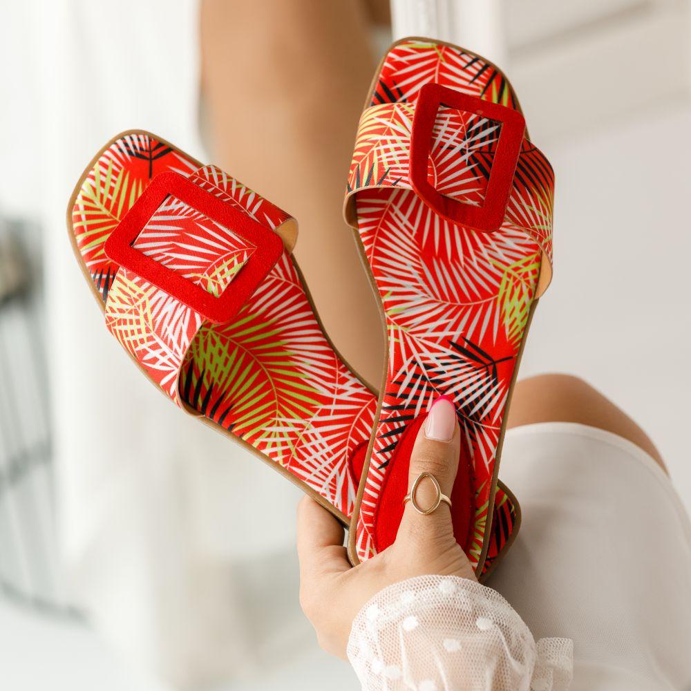 Papuci Dama Raluca Rosii #1355M