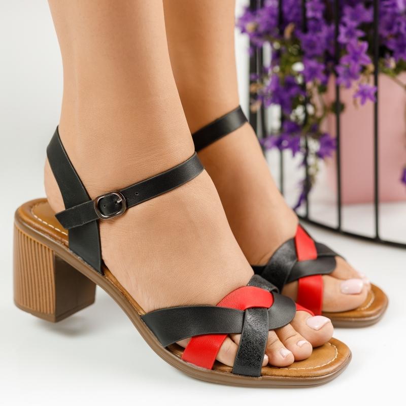 Sandale cu Toc Margot Negre/Rosii #1528M