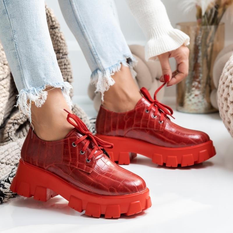Pantofi Casual Adelle Rosii #2657M imagine
