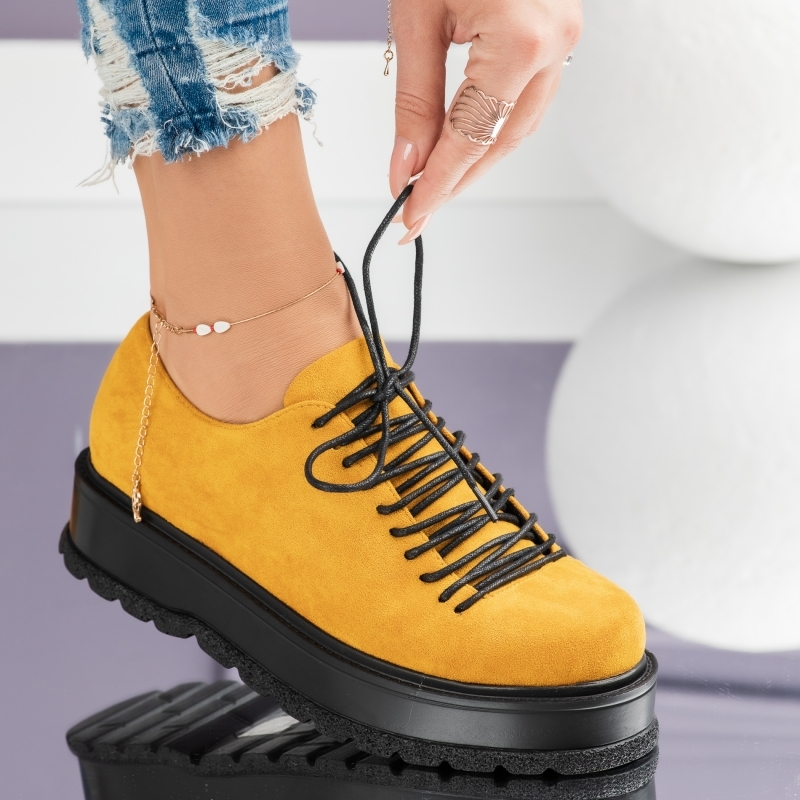 Pantofi Casual Dama Mika Galbeni #3732M