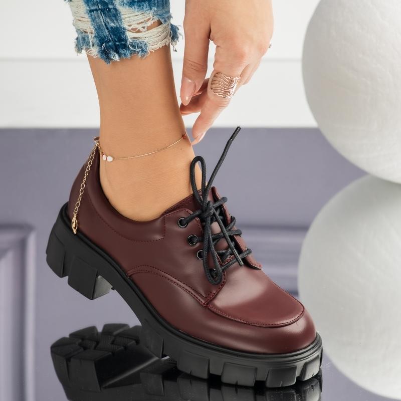 Pantofi Casual Dama Dalia Bordo #3718M