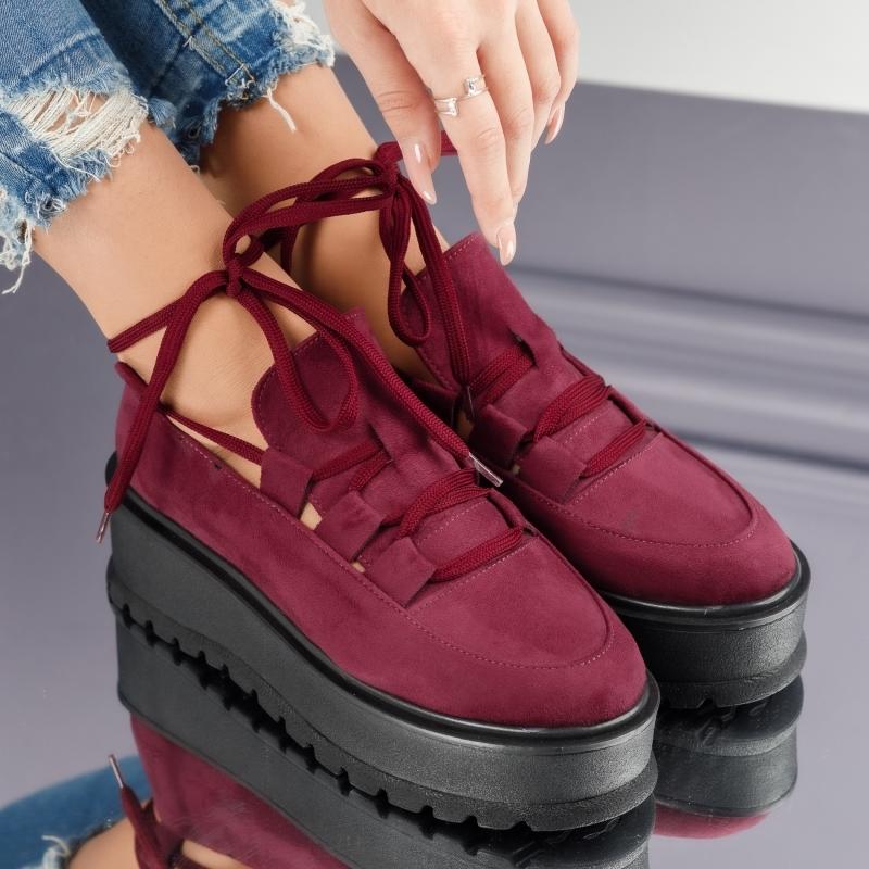 Pantofi Casual Dama Sara Bordo #3902M