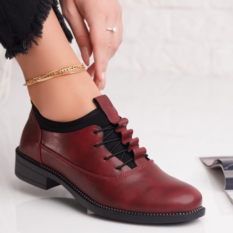 Pantofi Casual Dama Anisa Bordo #4246M