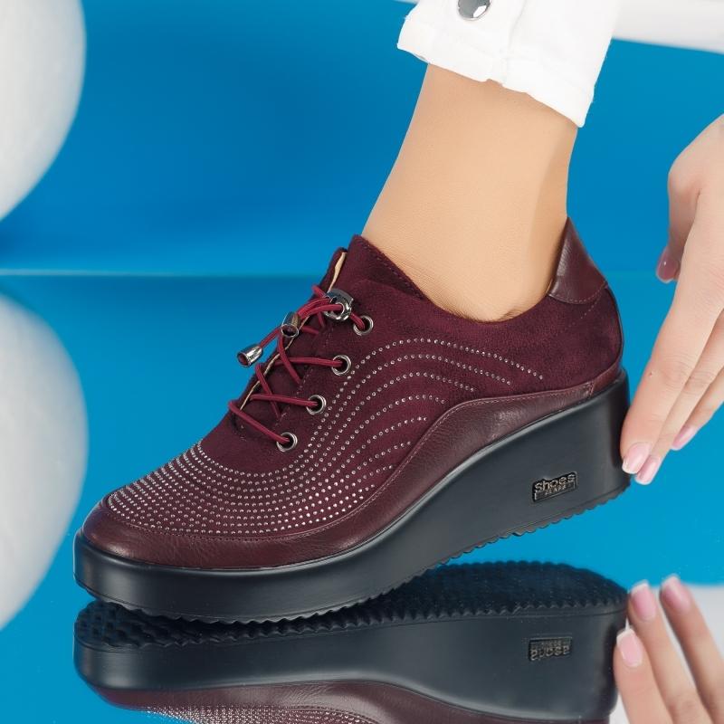 Pantofi Casual Dama Ava Bordo #4238M