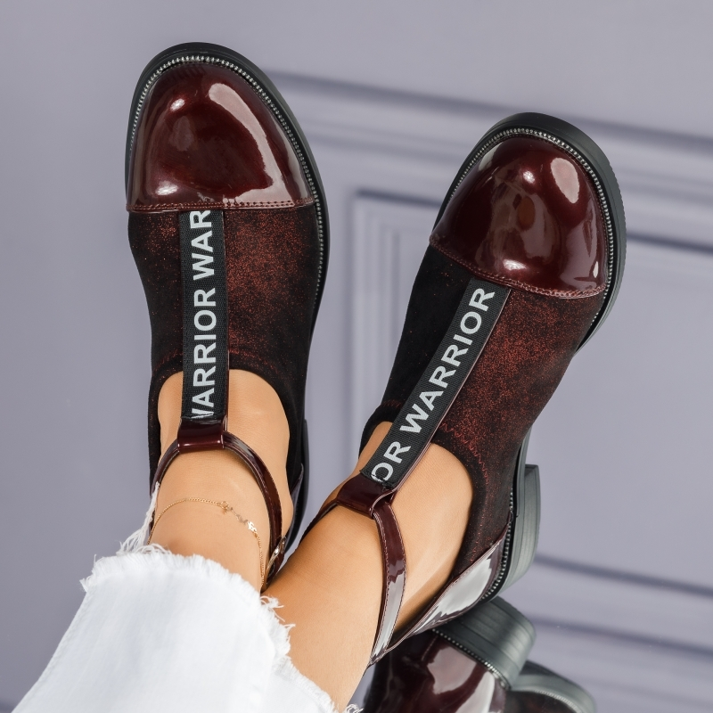 Pantofi Casual Dama Luana Bordo #7270M