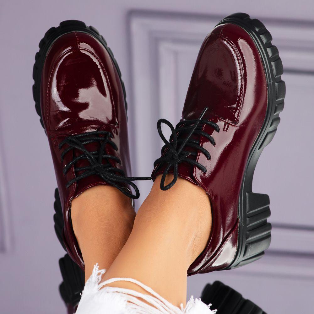 Pantofi Casual Dama Raizel Bordo #7100M