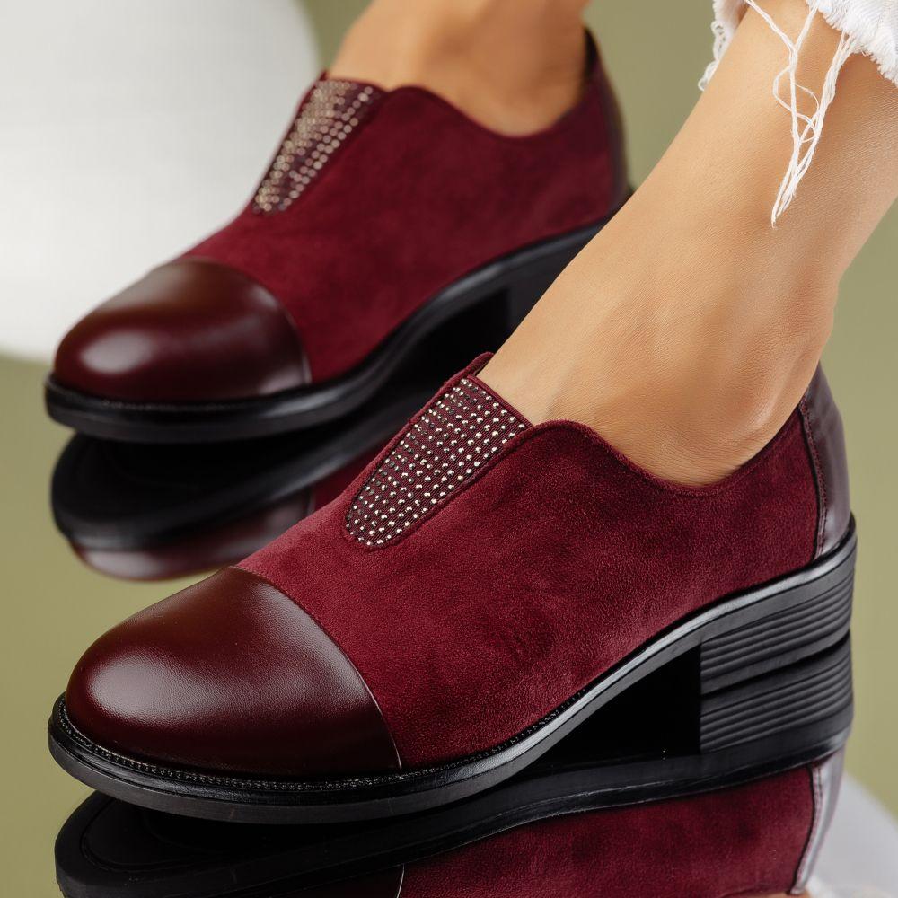 Pantofi Casual Dama Lucy Bordo #7041M