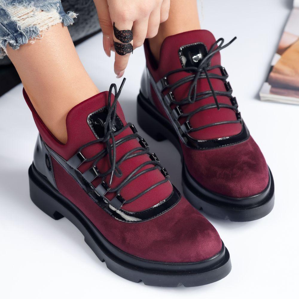 Pantofi Dama Casual Browlie Bordo #7663M